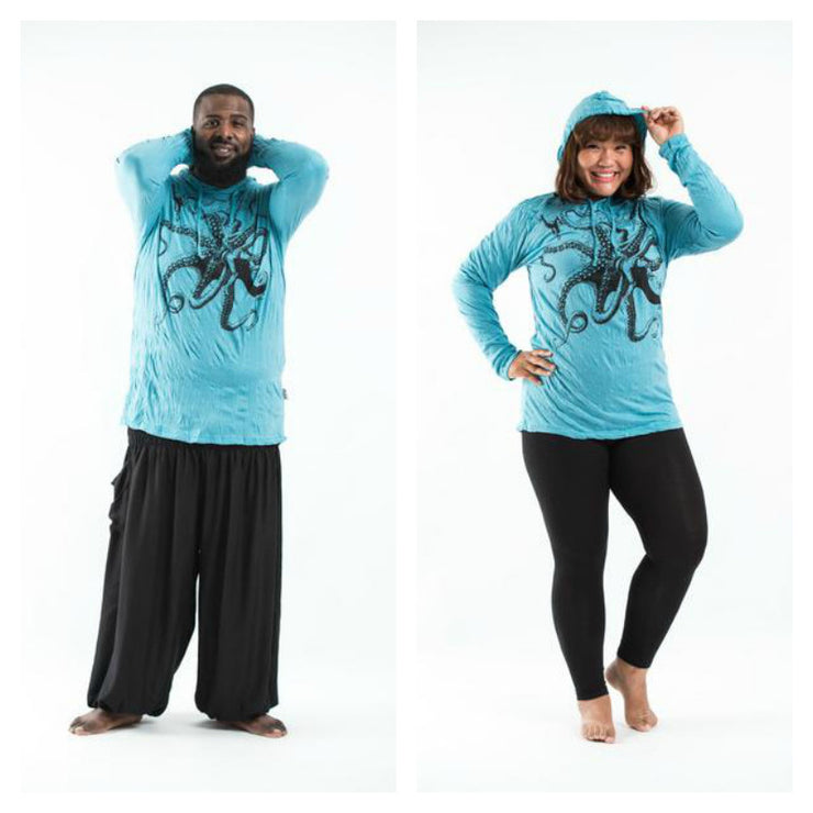 Plus Size Unisex Octopus Hoodie in Turquoise