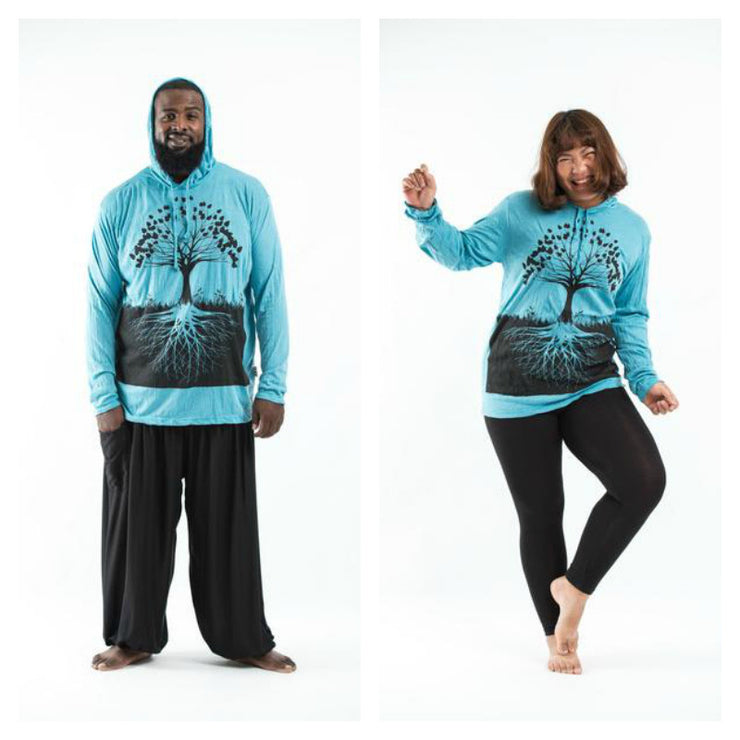 Plus Size Unisex Tree of Life Hoodie in Turquoise