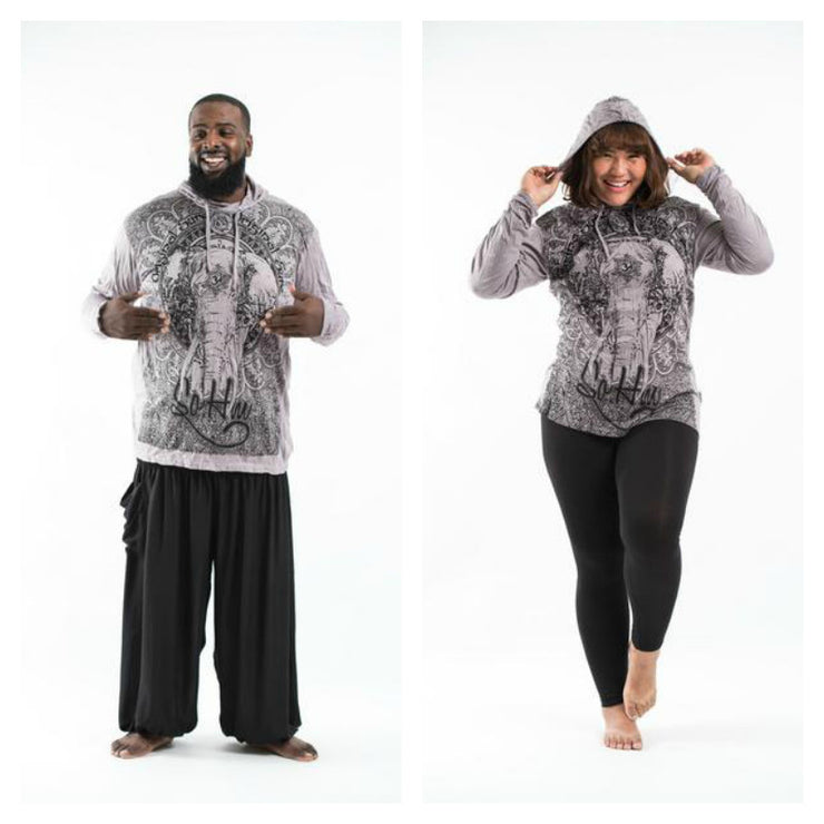 Plus Size Unisex Wild Elephant Hoodie in Gray