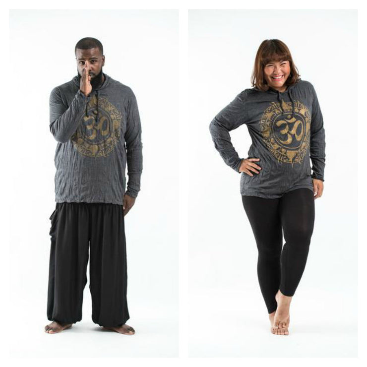 Plus Size Unisex Infinitee Om Hoodie in Gold on Black