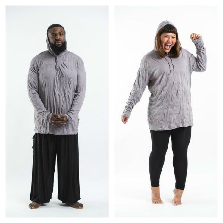 Plus Size Unisex Solid Color Hoodie in Gray