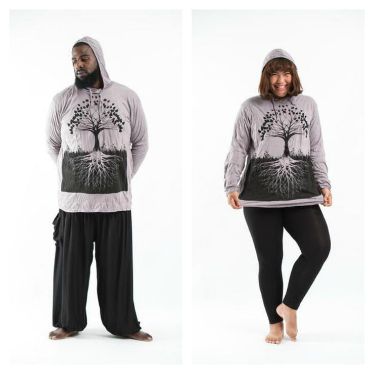 Plus Size Unisex Tree of Life Hoodie in Gray