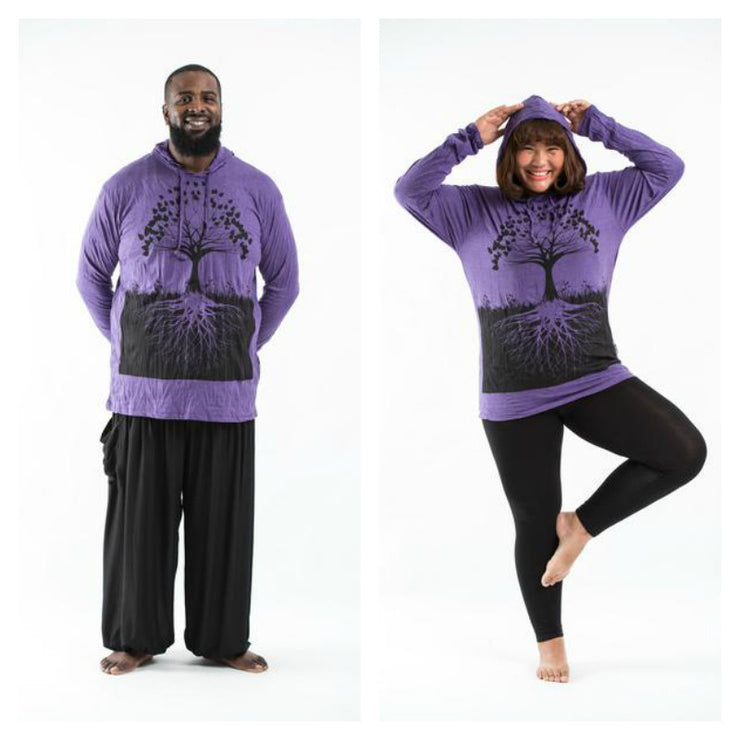 Plus Size Unisex Tree of Life Hoodie in Purple