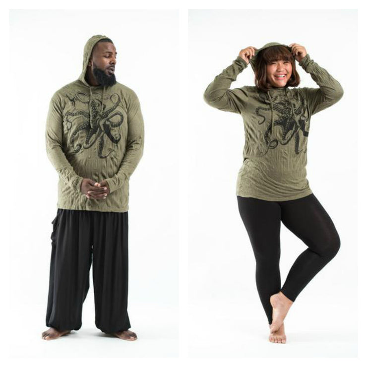Plus Size Unisex Octopus Hoodie in Green