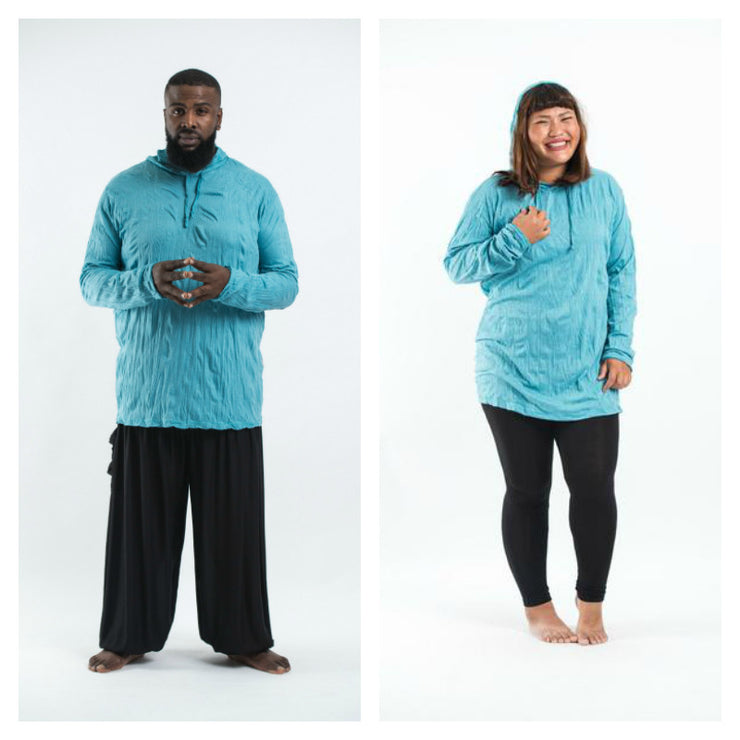 Plus Size Unisex Solid Color Hoodie in Turquoise