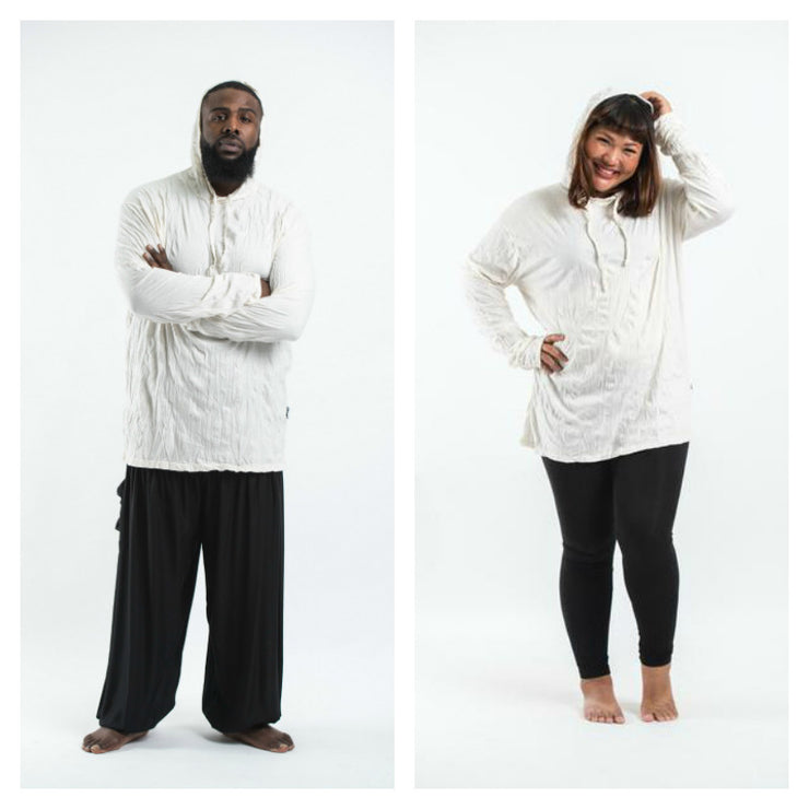 Plus Size Unisex Solid Color Hoodie in White