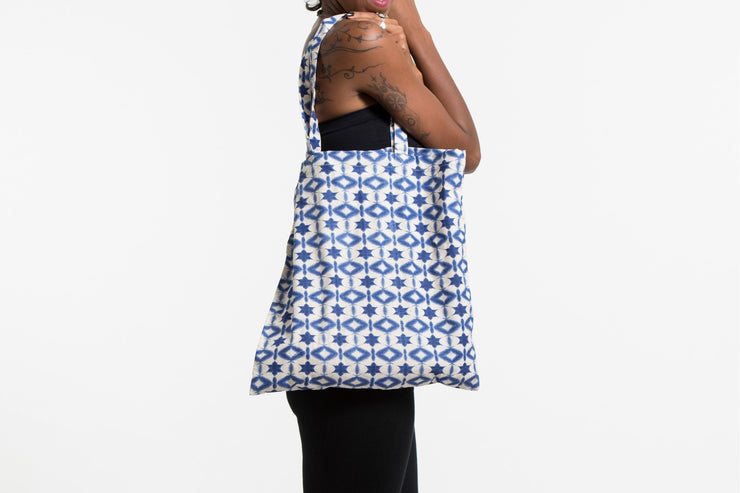 Star Print Cotton Tote Bag