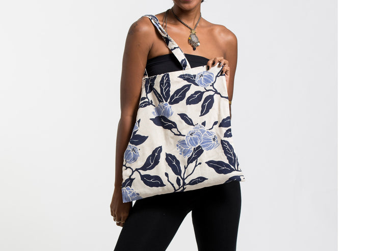 Flower Print Cotton Tote Bag