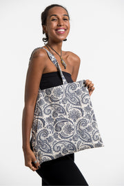 Paisley Print Cotton Tote Bag