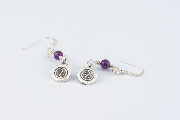 Yin Yang Sterling Silver Earrings with Amethyst