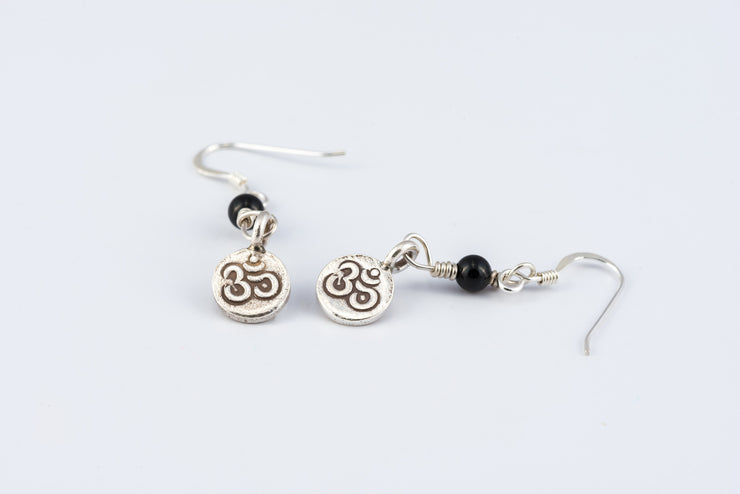 Om Sterling Silver Earrings with Onyx