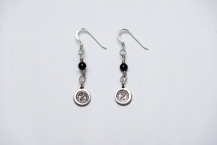 Yin Yang Sterling Silver Earrings with Onyx