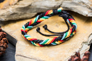 Braided Leather Bracelet in Rasta