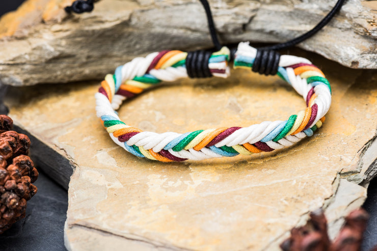 Braided Leather Bracelet in Popsicle