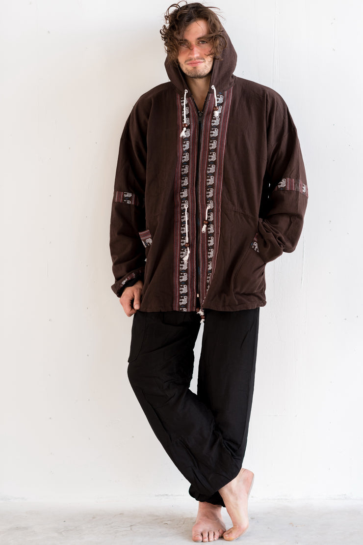 Unisex Thai Hill Tribe Hoodies with Embroidered Elephants Trim in Brown