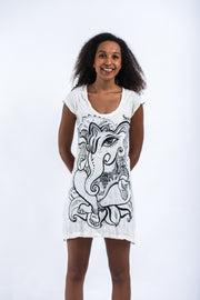 Womens Cute Ganesh Dress in White