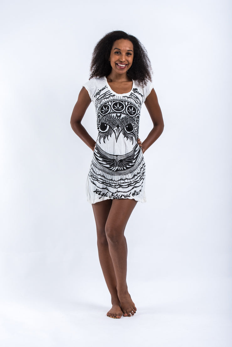 Womens Weed Owl Dress in White