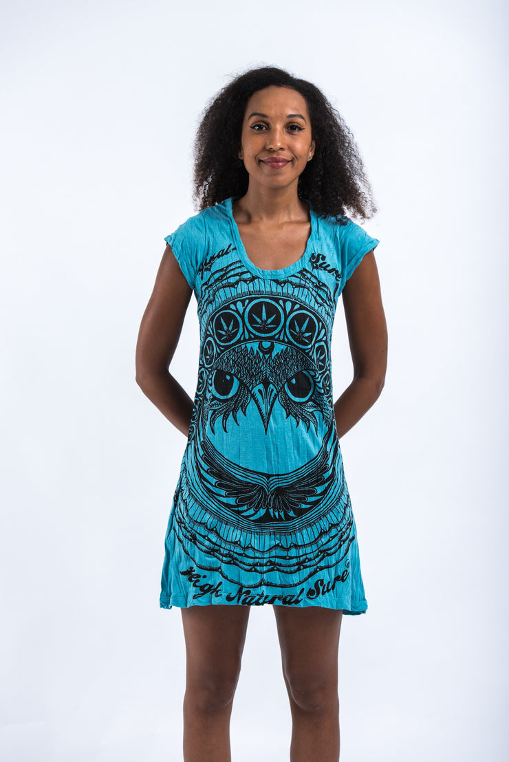 Womens Weed Owl Dress in Turquoise