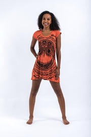 Womens Weed Owl Dress in Orange