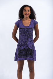 Womens Sanskrit Buddha Dress in Purple