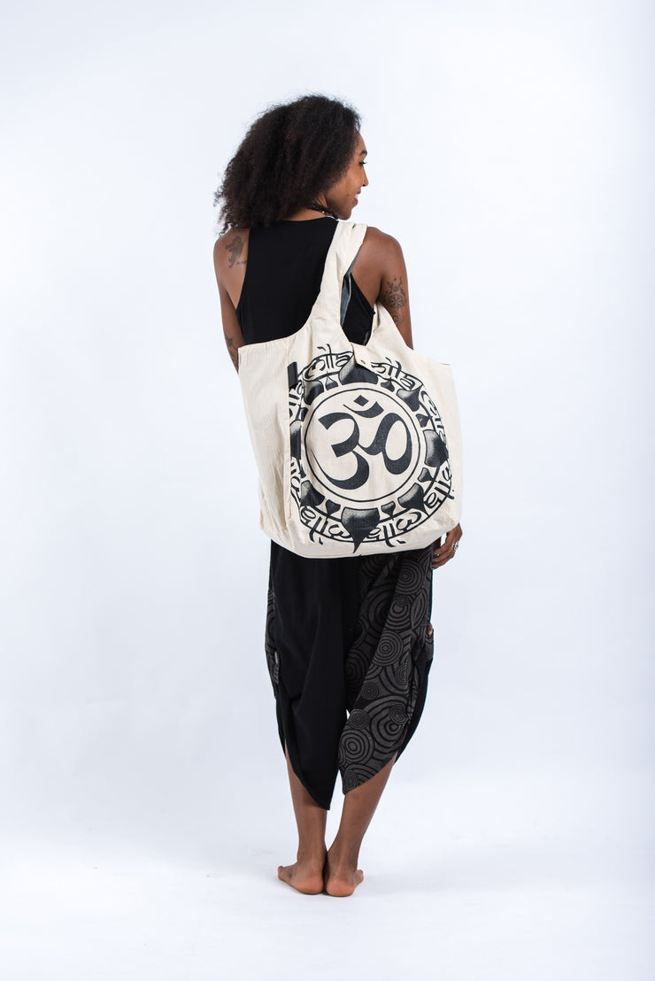 Infinitee Om Reversible Cotton Tote Bag in Natural