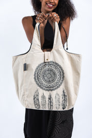 Dreamcatcher Reversible Cotton Tote Bag in Natural