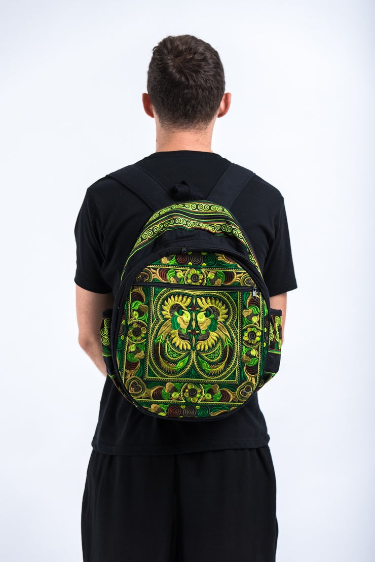 Hmong Hill Tribe Embroidered Peacock Backpack in Green