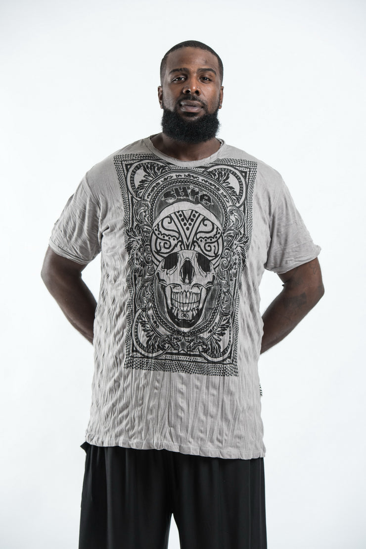 Plus Size Mens Trippy Skull T-Shirt in Gray