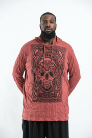 Plus Size Unisex Trippy Skull Hoodie in Brick