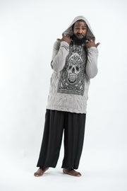 Plus Size Unisex Trippy Skull Hoodie in Gray