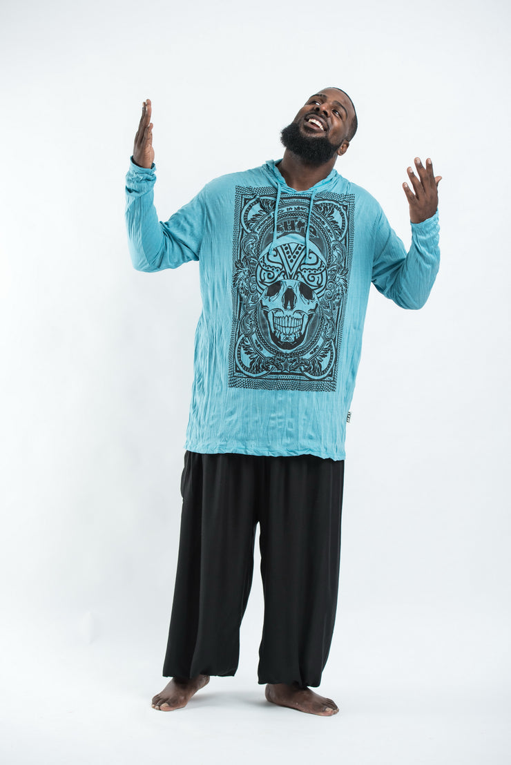 Plus Size Unisex Trippy Skull Hoodie in Turquoise