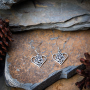 Celtic Heart Sterling Silver Earrings wiyh Amethyst
