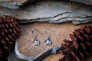 Bodhi Leaf Om Sterling Silver Earrings