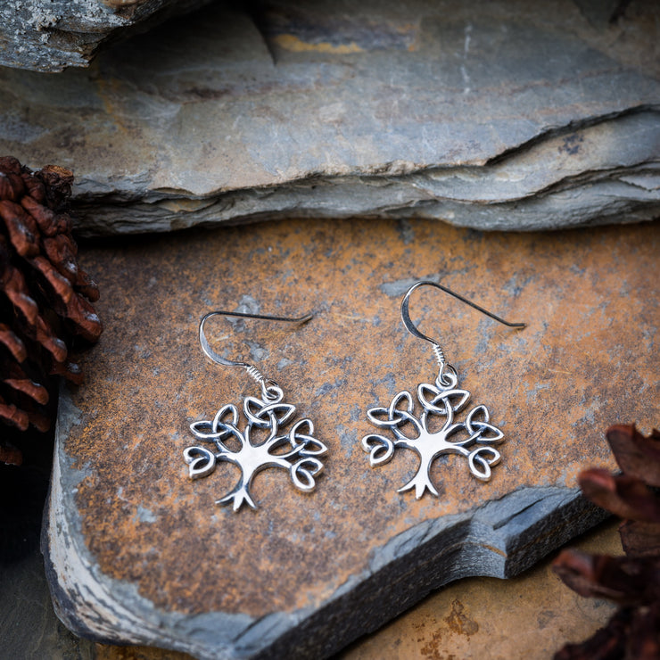 Trinity Tree of Life Sterling Silver Earrings