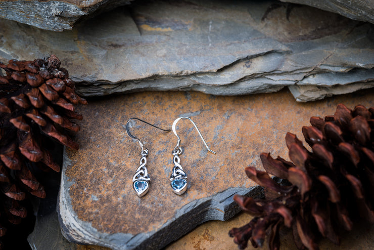 Celtic Trinity Knot Sterling Silver Earrings with Topaz