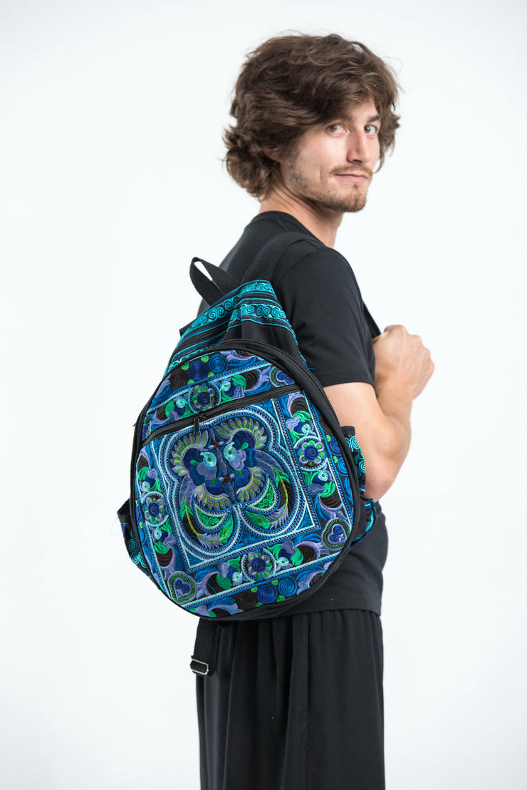 Hmong Hill Tribe Embroidered Peacock Backpack in Blue