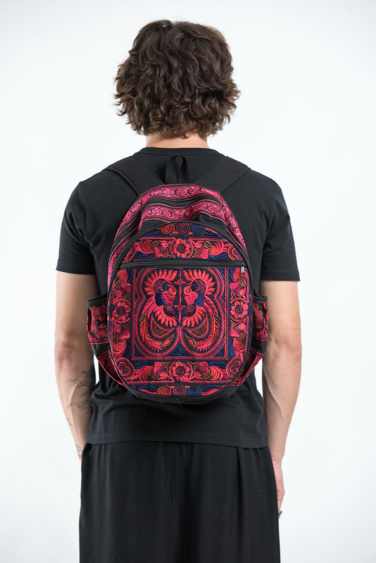 Hmong Hill Tribe Embroidered Peacock Backpack in Pink