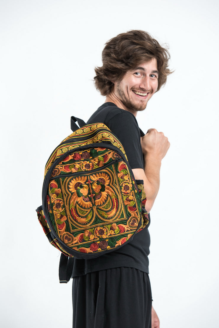 Hmong Hill Tribe Embroidered Peacock Backpack in Orange