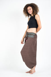 Unisex Pinstripe Harem Pants With Hill Tribe Trim in Brown