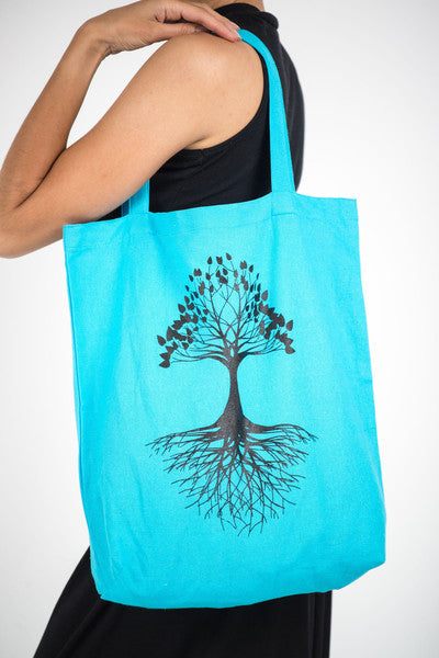 Tree of Life Cotton Tote Bag in Blue
