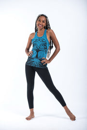 Womens Tree of Life Tank Top in Denim Blue
