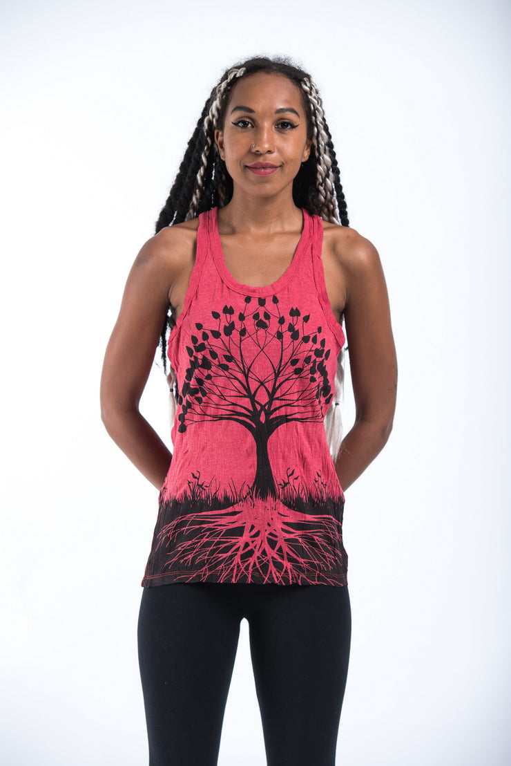 Womens Tree of Life Tank Top in Red