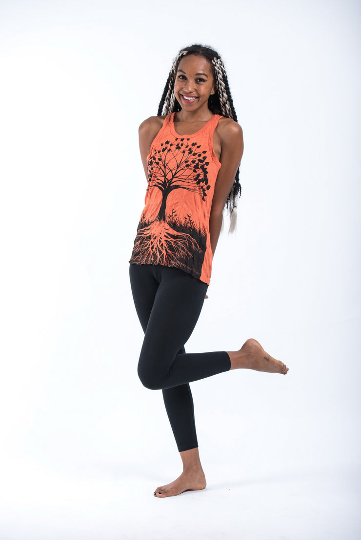 Womens Tree of Life Tank Top in Orange