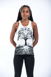 Womens Tree of Life Tank Top in White