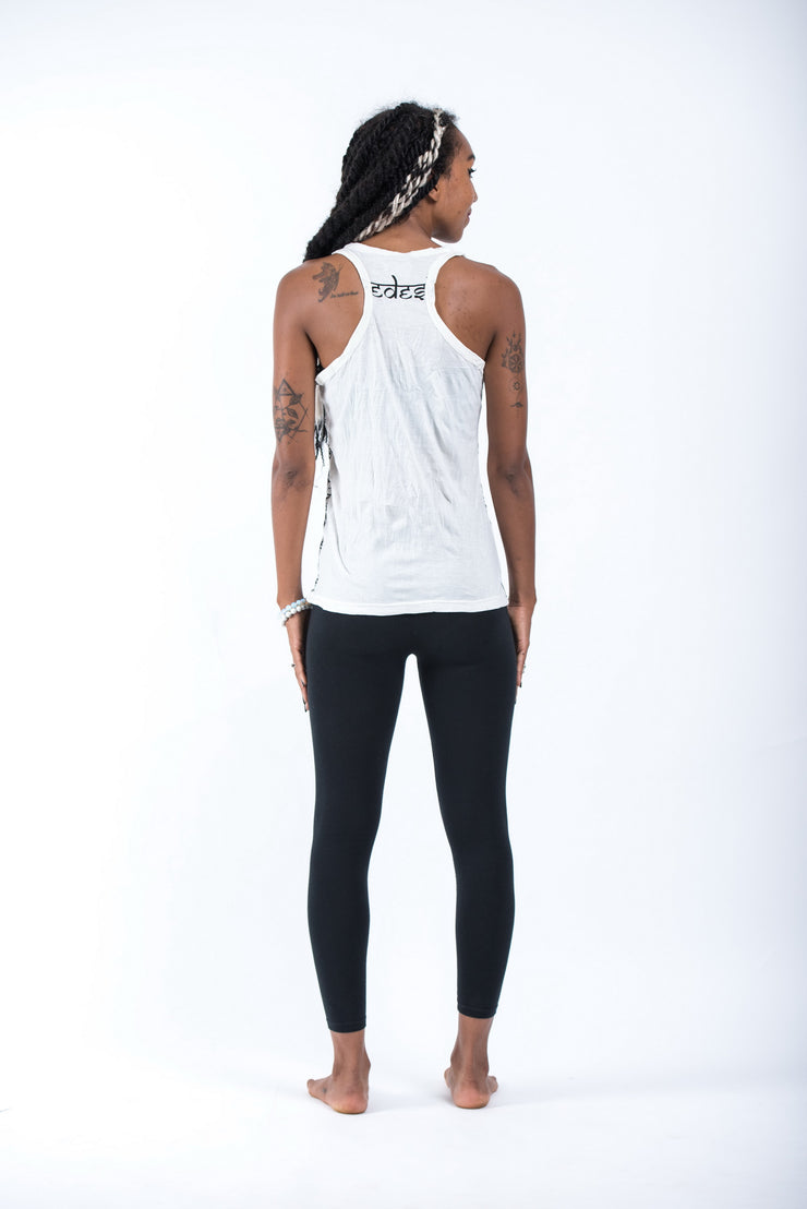 Womens Wild Elephant Tank Top in White