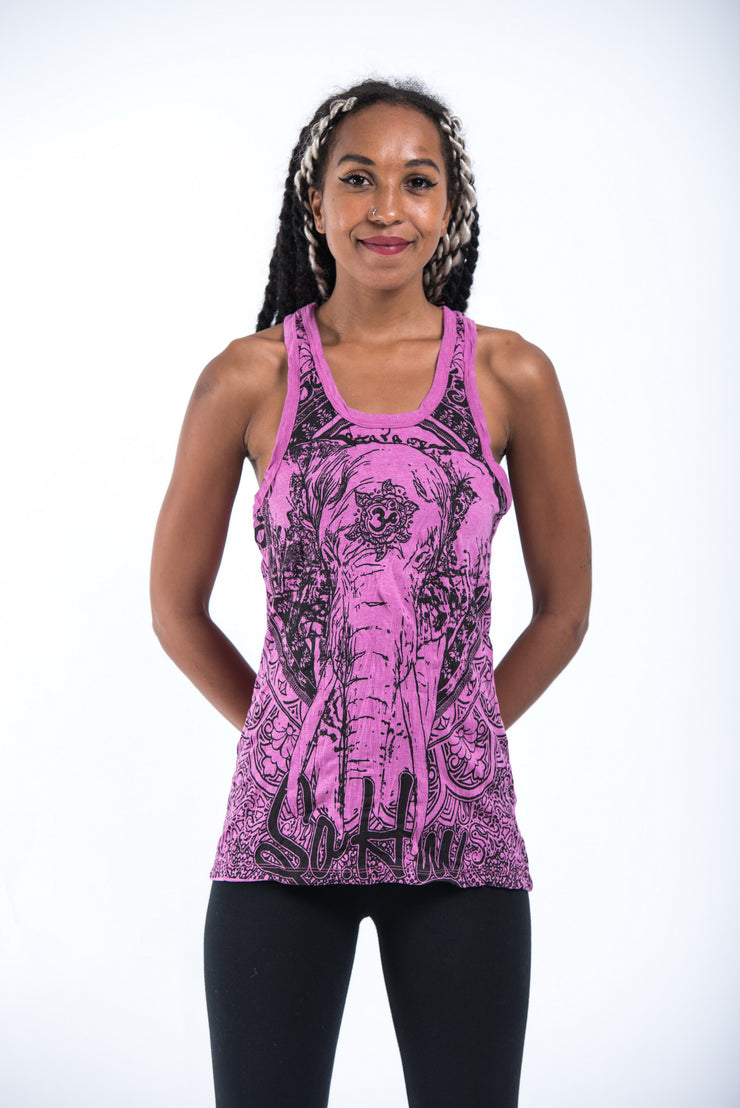 Womens Wild Elephant Tank Top in Pink