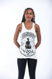 Womens Infinitee Yoga Stamp Tank Top in White