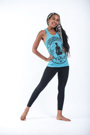 Womens Infinitee Yoga Stamp Tank Top in Turquoise