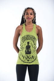 Womens Infinitee Yoga Stamp Tank Top in Lime