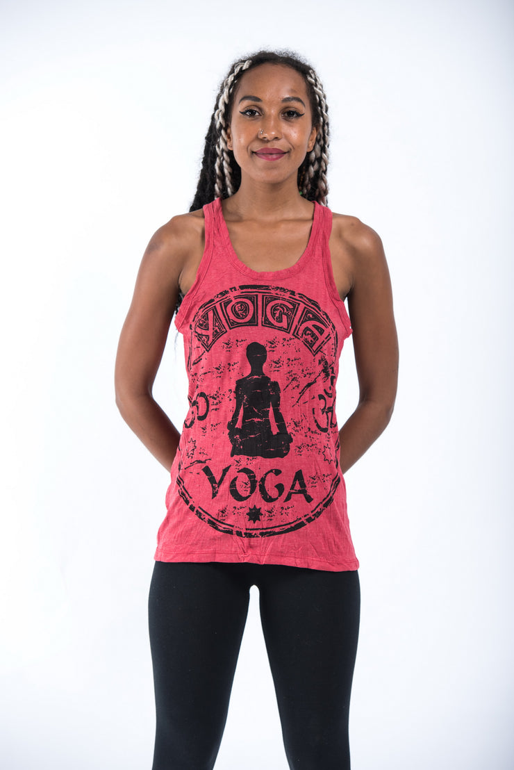 Womens Infinitee Yoga Stamp Tank Top in Red